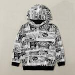 Μπλούζα hoodie με ασπρόμαυρα comics