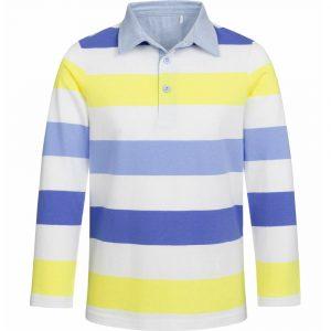 Μπλούζα πόλο ριγέ μπλε-κίτρινο
