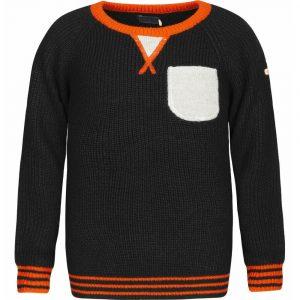 Μπλούζα μάλλινη μαύρο-πορτοκαλί