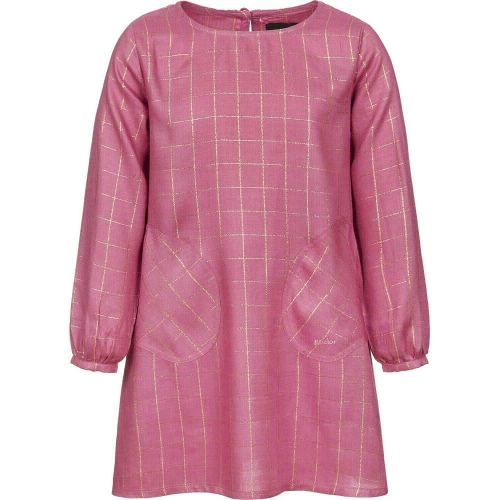 Φόρεμα καρό ροζ-χρυσό
