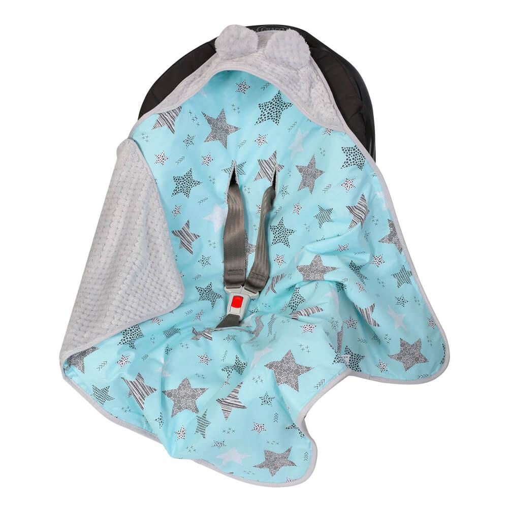 Κουβέρτα αυτοκινήτου Turquoise Stars, duet baby