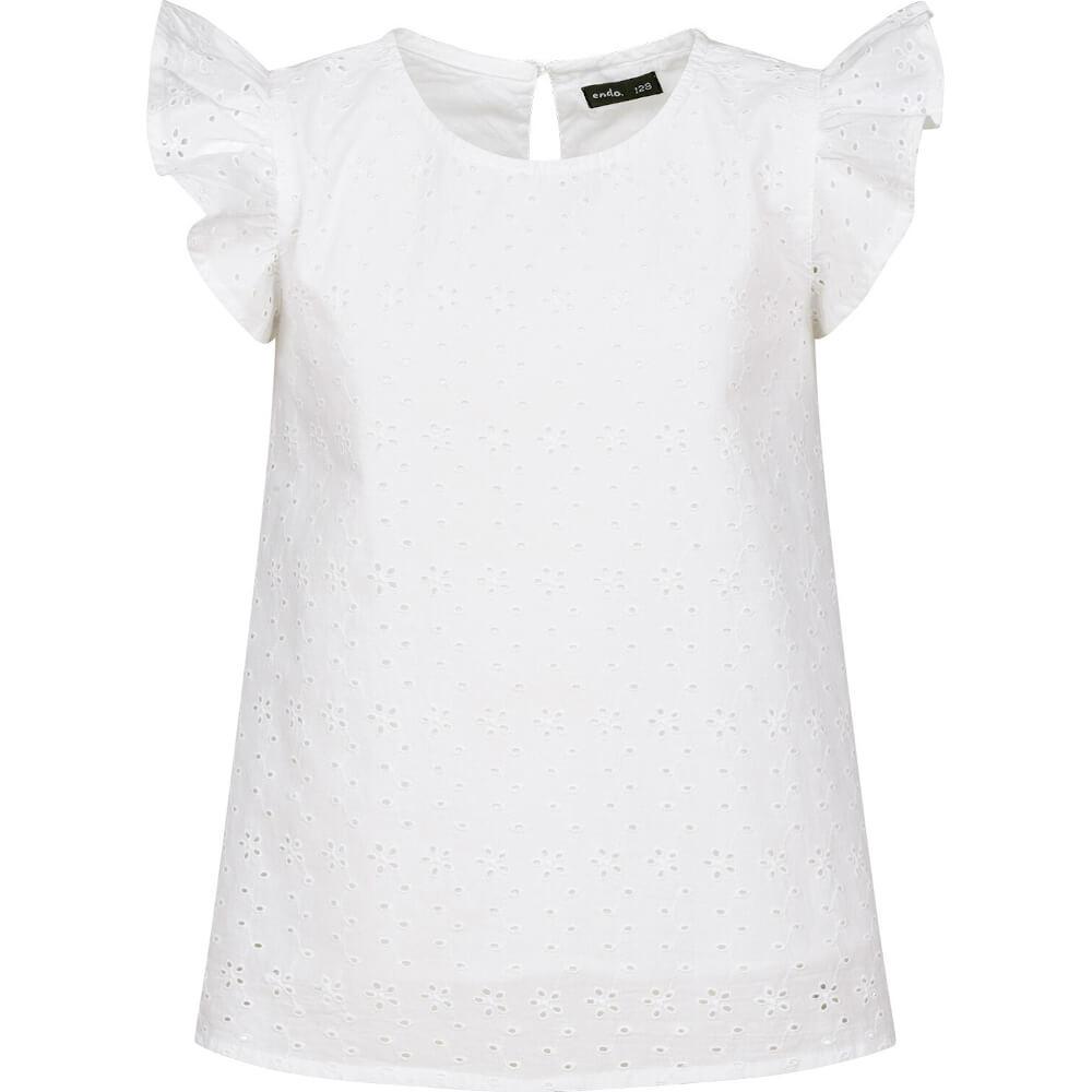 Κοντομάνικη μπλούζα λευκή με κεντήματα