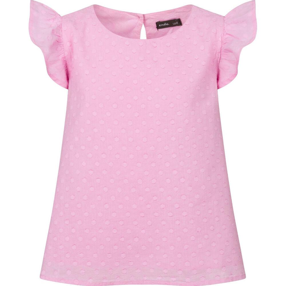 Κοντομάνικη μπλούζα ροζ πουά