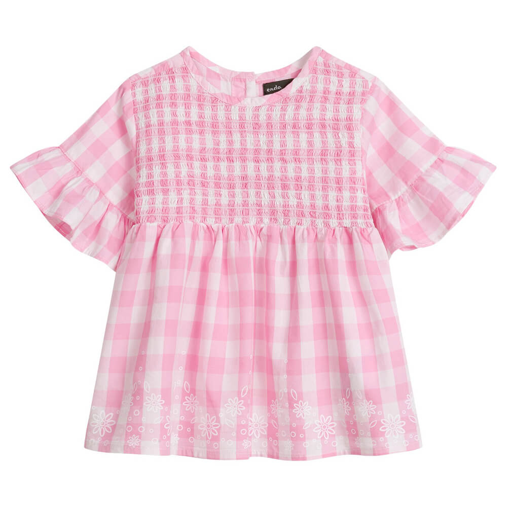 Κοντομάνικη μπλούζα καρό ροζ-λευκό