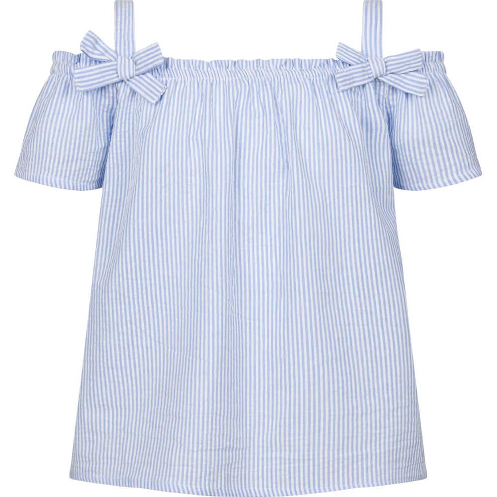 Κοντομάνικη μπλούζα ριγέ γαλάζιο-λευκό