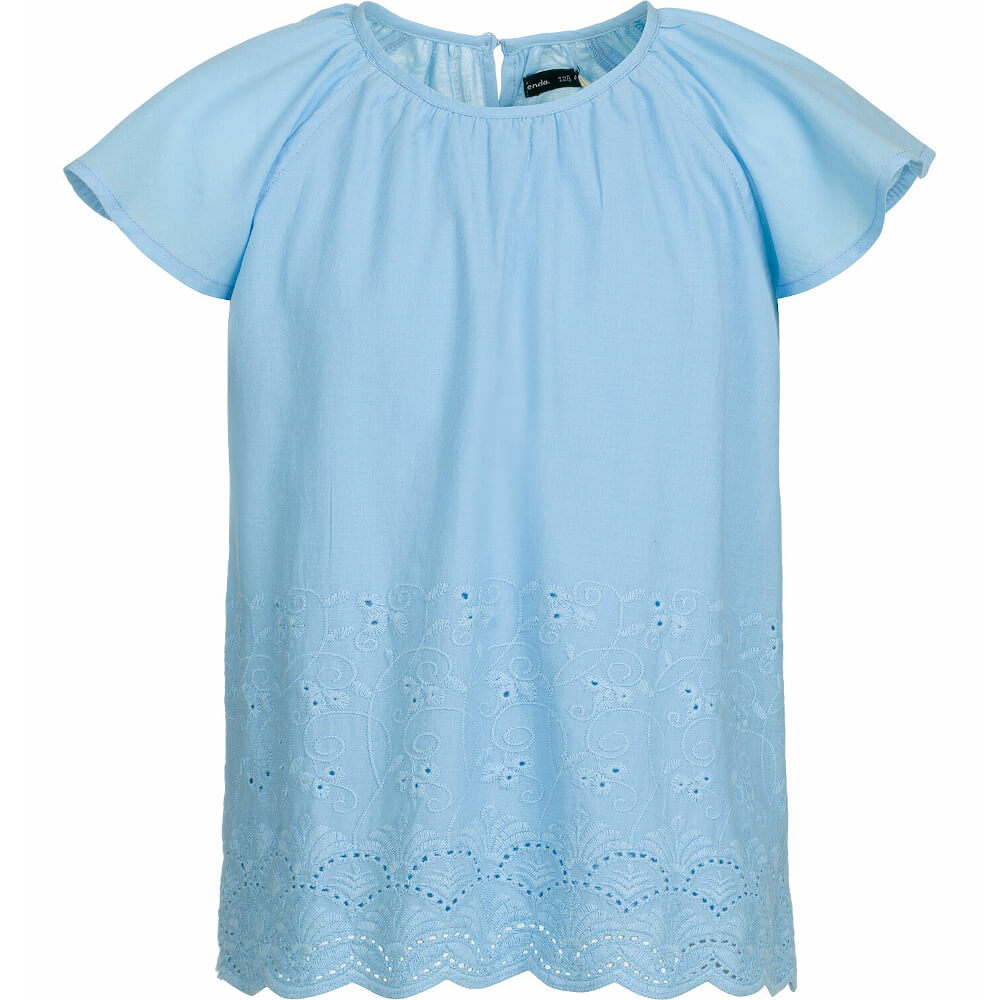 Κοντομάνικη μπλούζα γαλάζια με κεντήματα