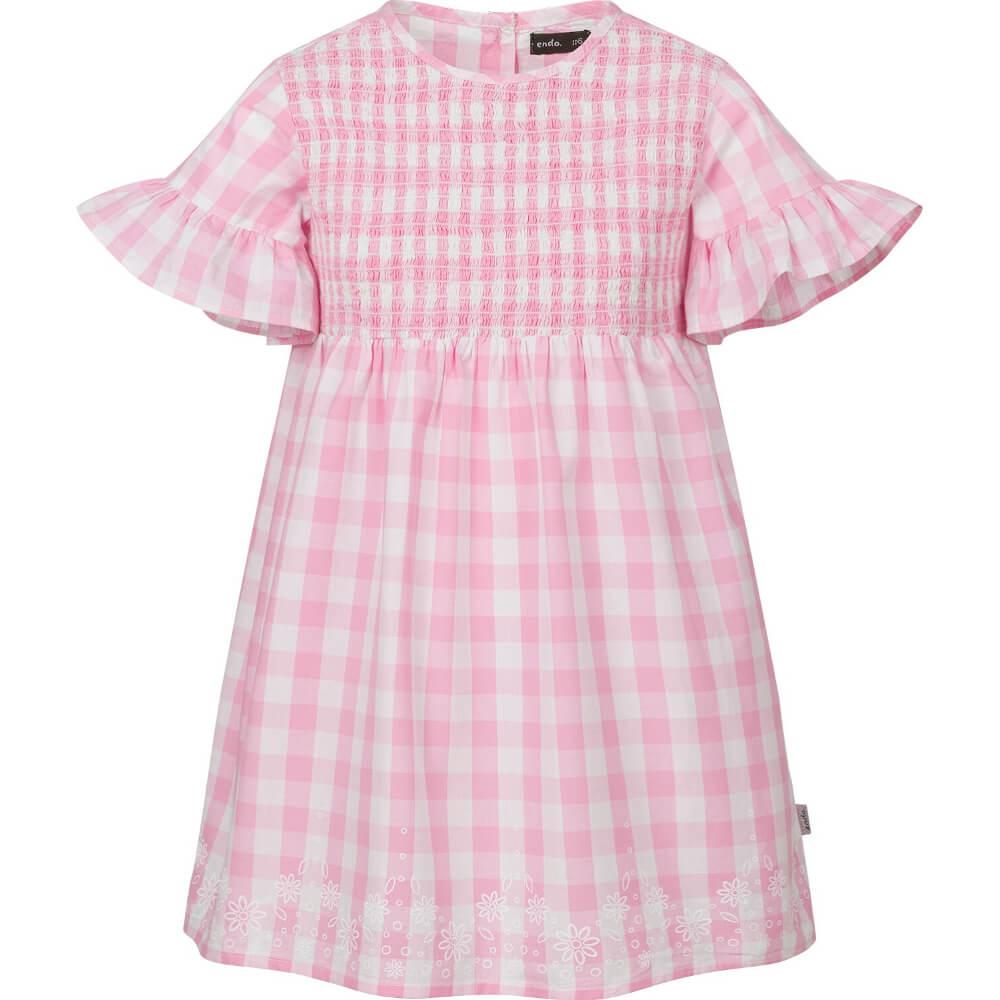 Κοντομάνικο φόρεμα καρό ροζ-λευκό