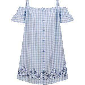 Αμάνικο φόρεμα καρό γαλάζιο-λευκό