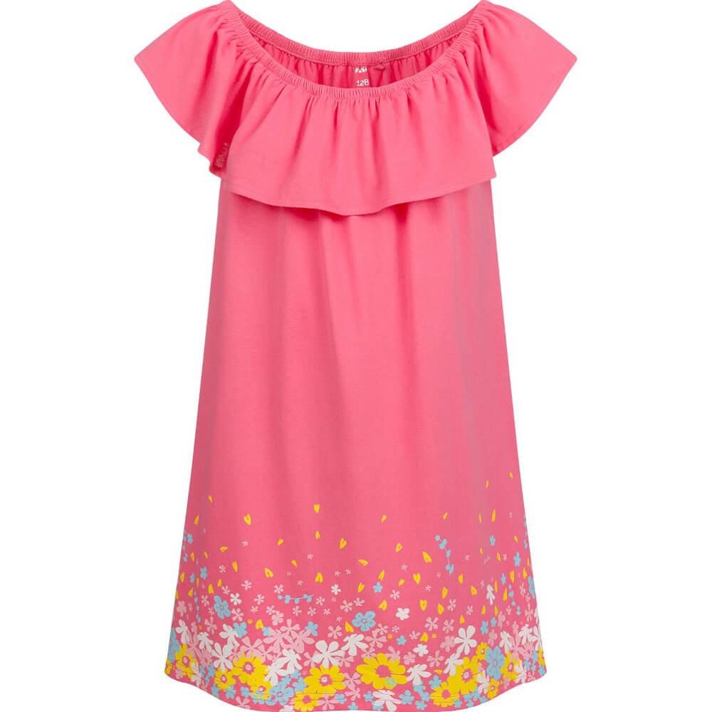 Κοντομάνικο φόρεμα με λουλούδια και βολάν