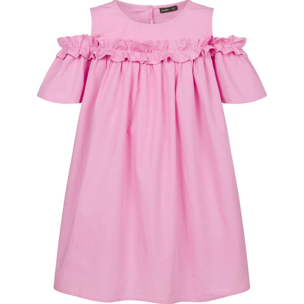 Κοντομάνικο φόρεμα ροζ με βολάν