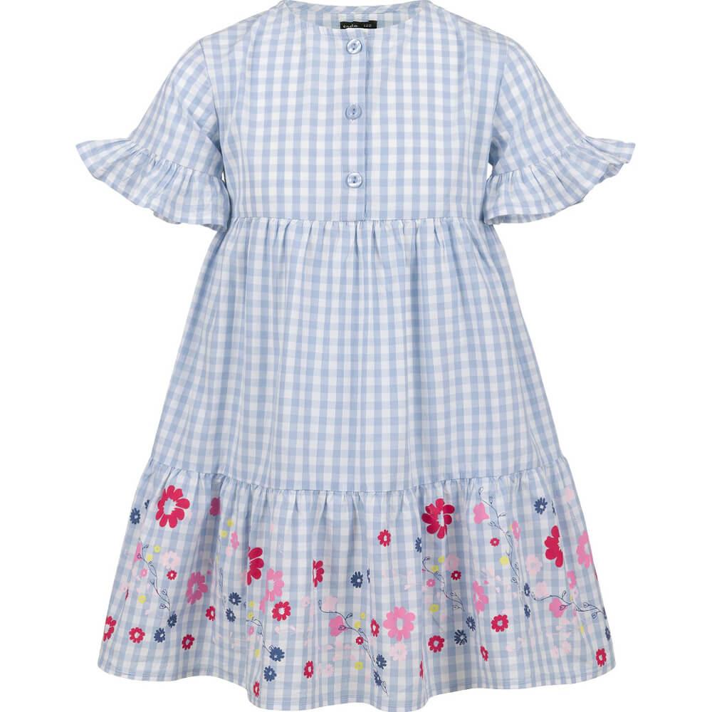 Κοντομάνικο φόρεμα καρό με λουλούδια