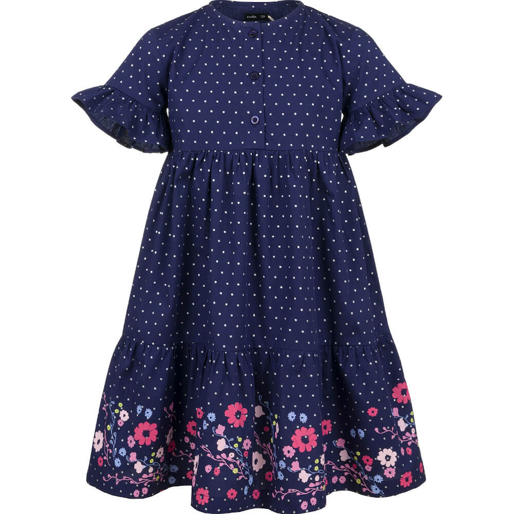 Κοντομάνικο φόρεμα πουά με λουλούδια