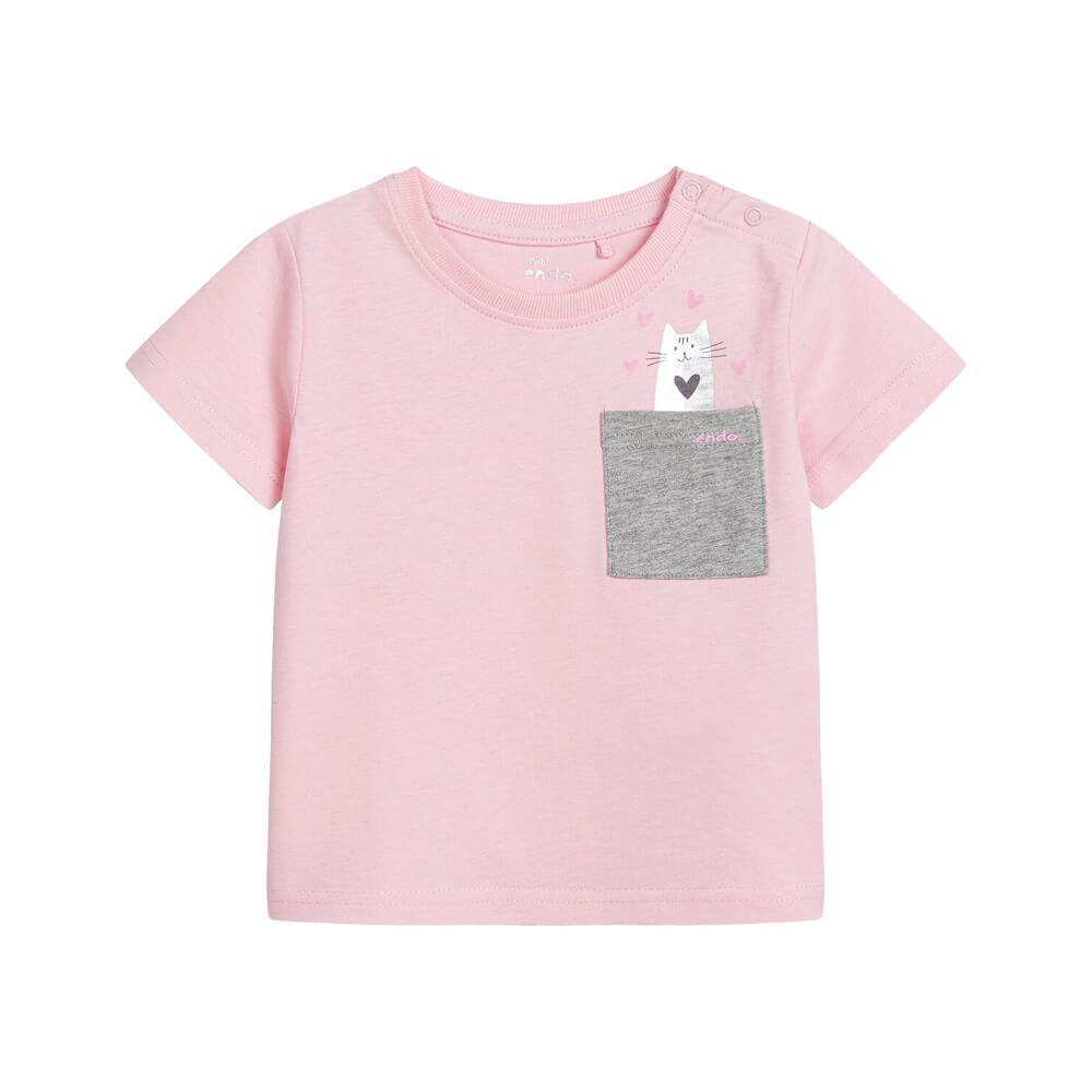 Κοντομάνικη μπλούζα ροζ Cat in Pocket