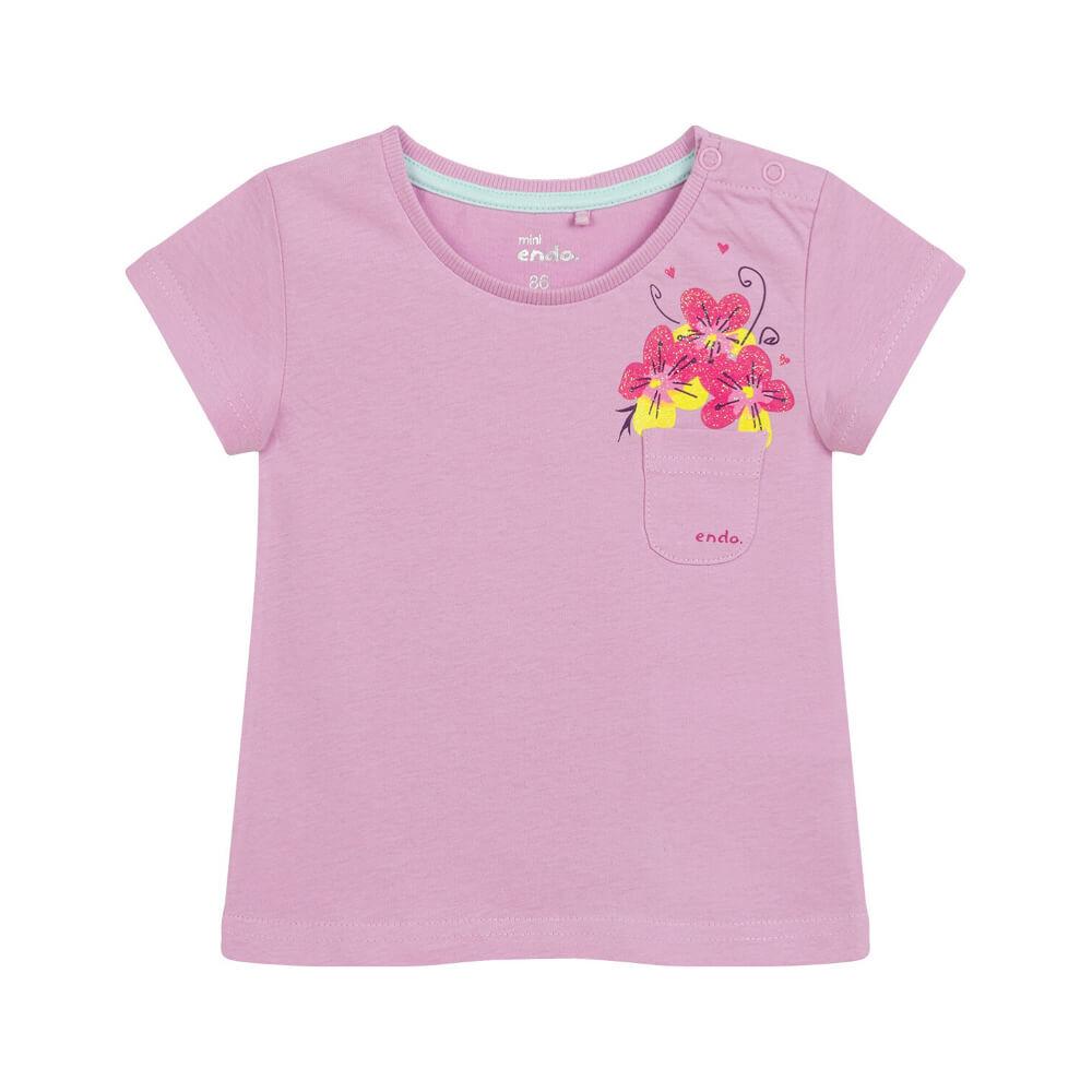 Κοντομάνικη μπλούζα ροζ Flowers in Pocket