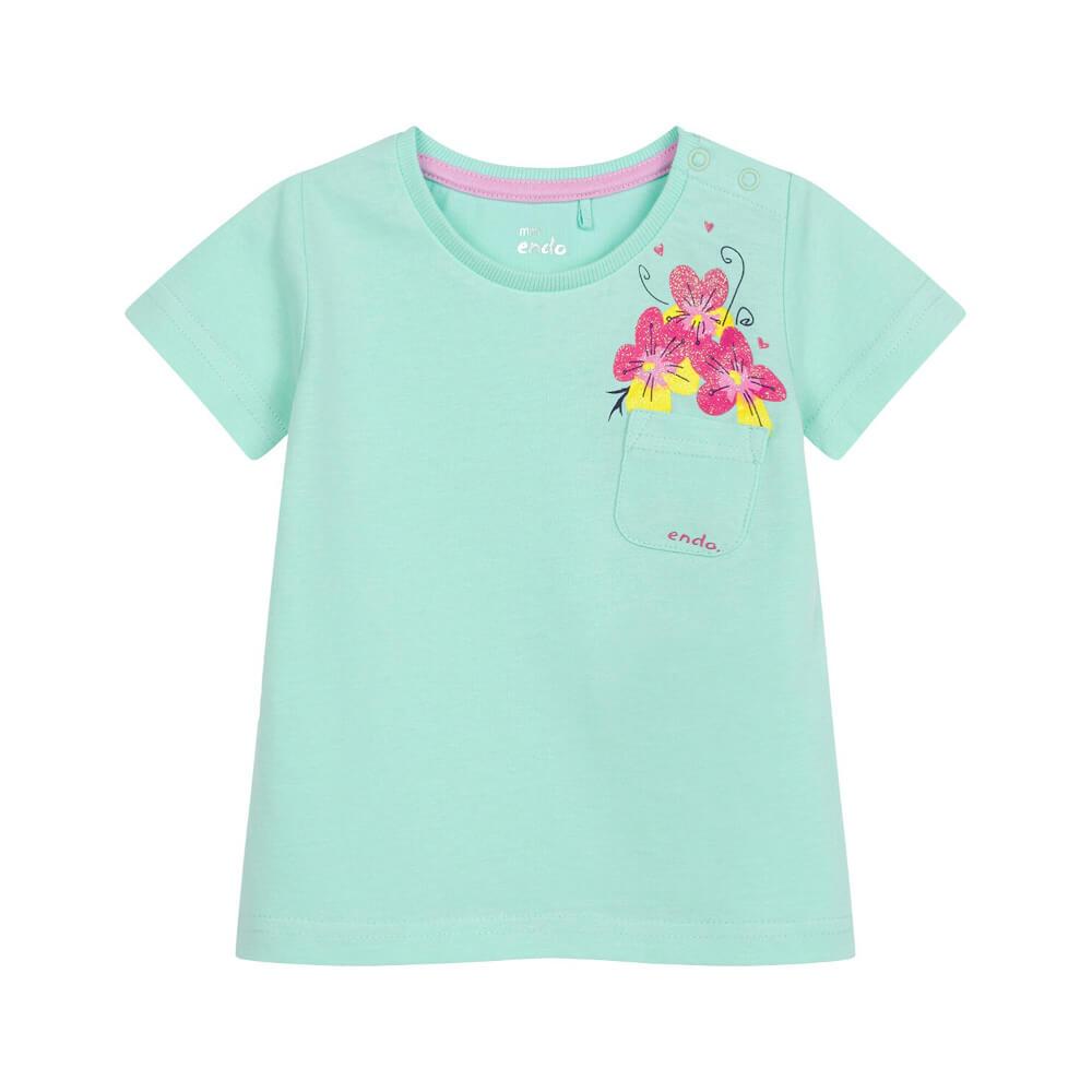 Κοντομάνικη μπλούζα βεραμάν Flowers in Pocket
