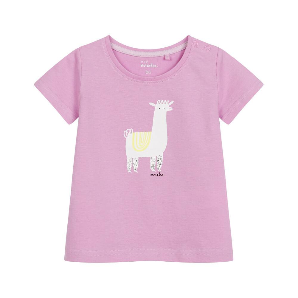 Κοντομάνικη μπλούζα ροζ Llama