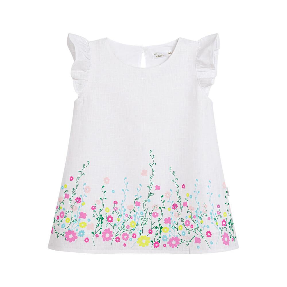 Κοντομάνικο φόρεμα λευκό λινό με λουλούδια