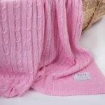 Κουβέρτα πλεκτή bamboo Ροζ