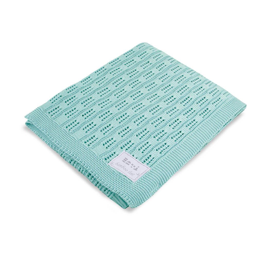 Κουβέρτα πλεκτή bamboo Τυρκουάζ