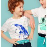Κοντομάνικη μπλούζα λευκή-ριγέ Whale