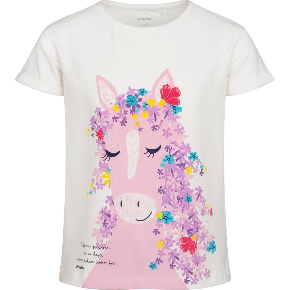 Κοντομάνικη μπλούζα λευκή Floral Horse
