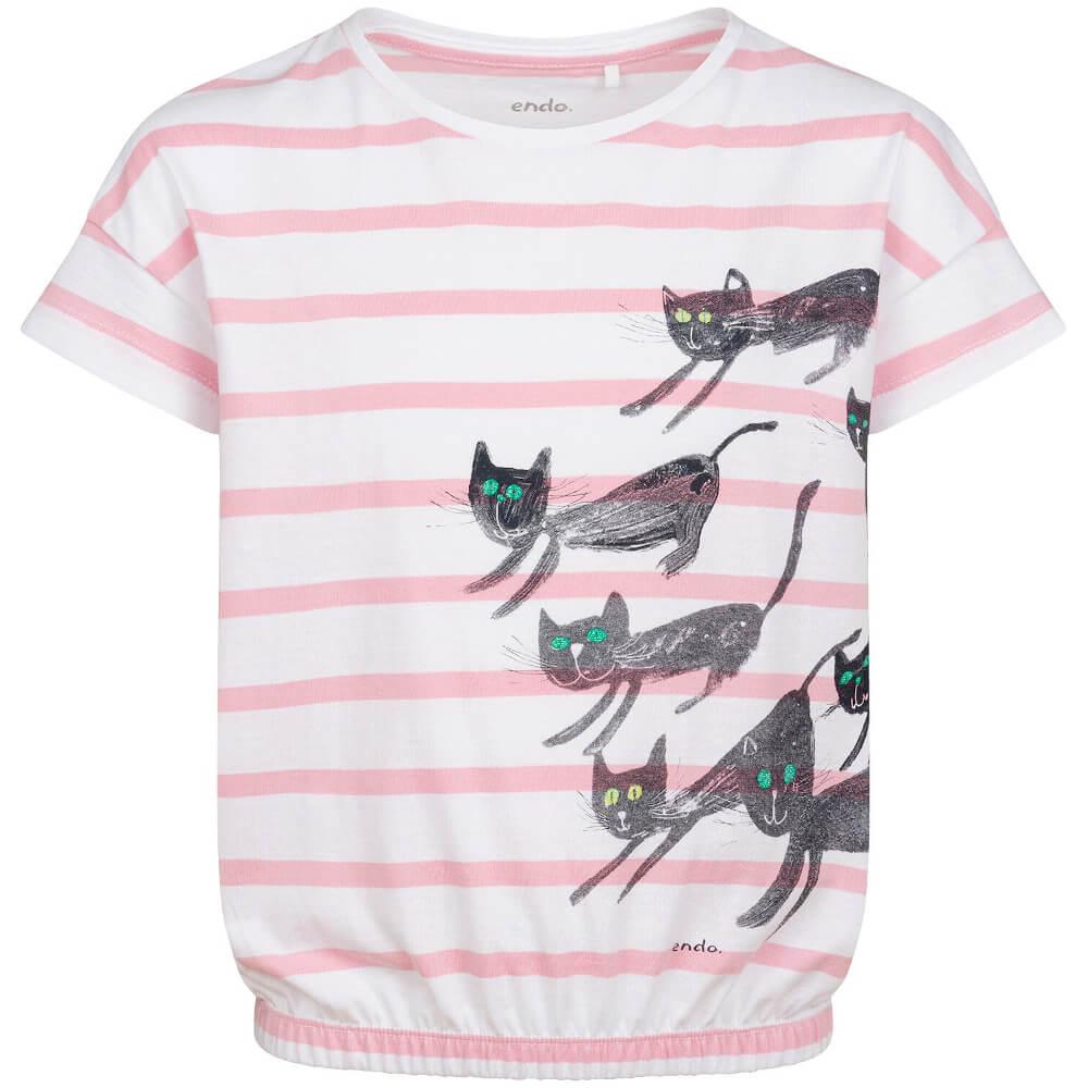 Κοντομάνικη μπλούζα ριγέ λευκή-ροζ Cats