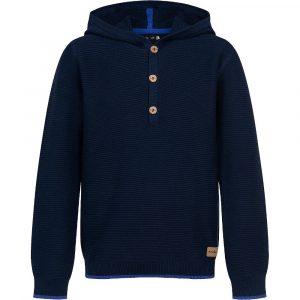 Πουλόβερ μπλε με κουκούλα
