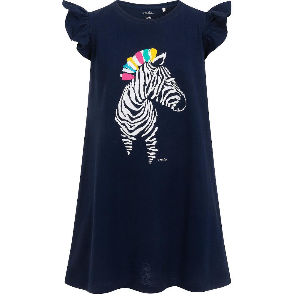 Κοντομάνικο φόρεμα Navy Blue Zebra