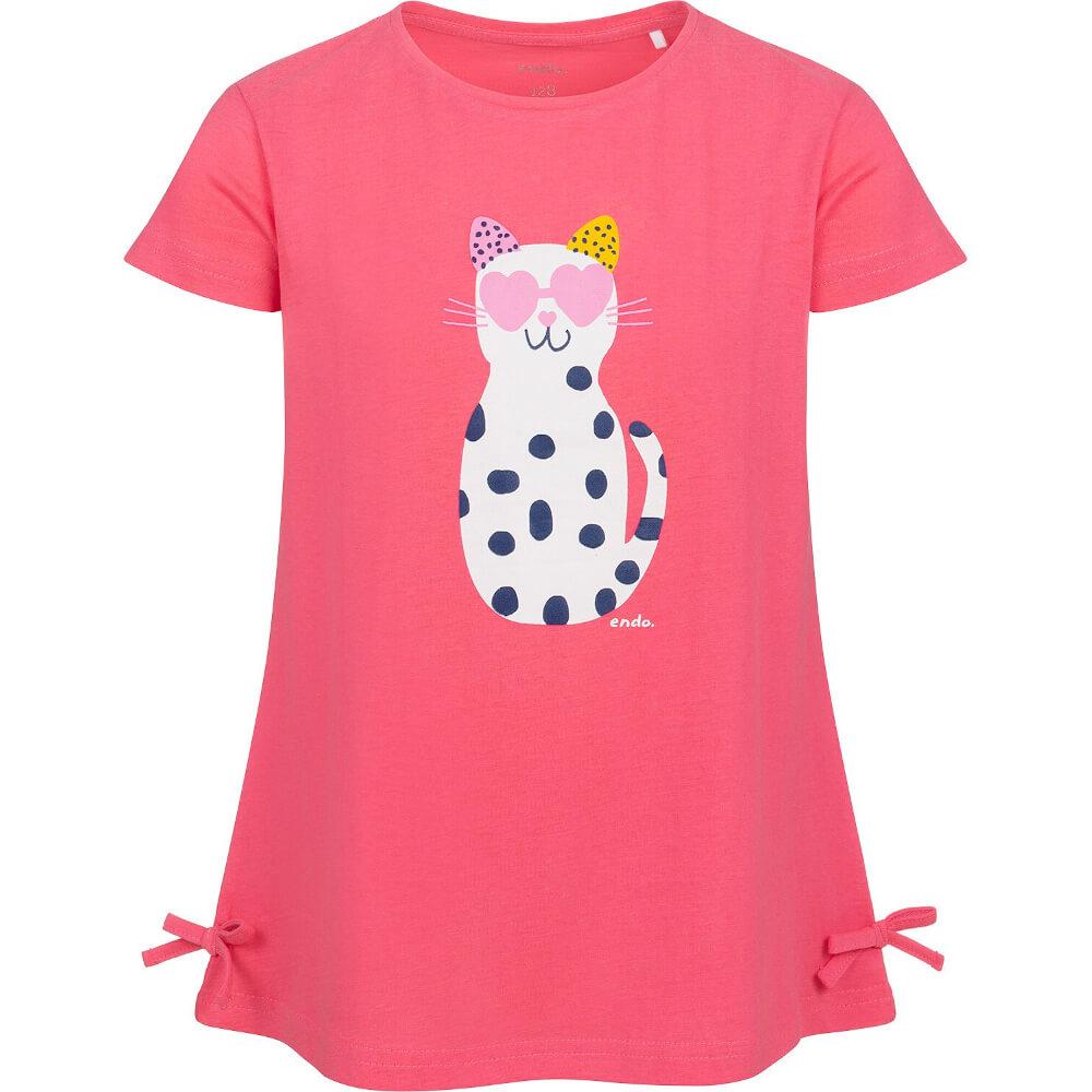 Κοντομάνικη μπλούζα ροζ Cat with glasses