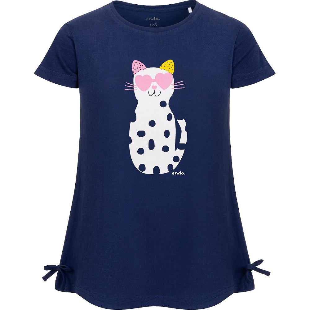 Κοντομάνικη μπλούζα μπλε Cat with glasses