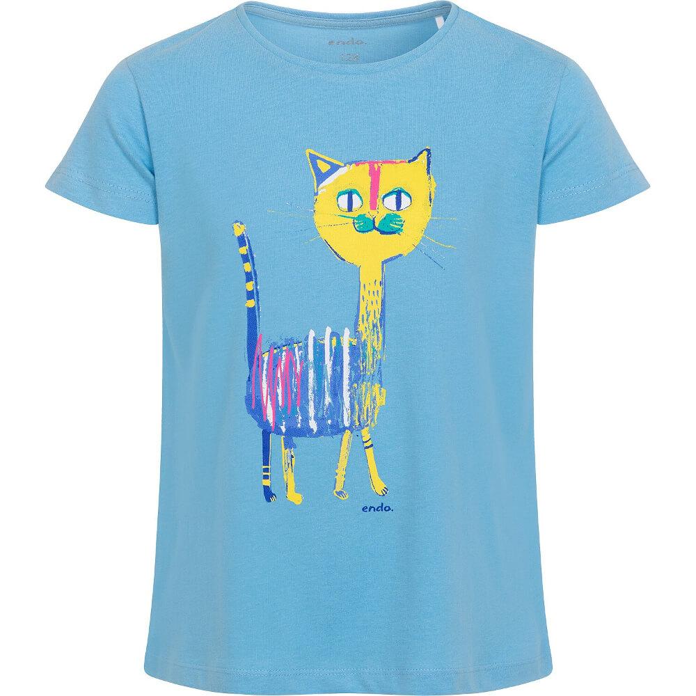 Κοντομάνικη μπλούζα γαλάζια Colourful Cat