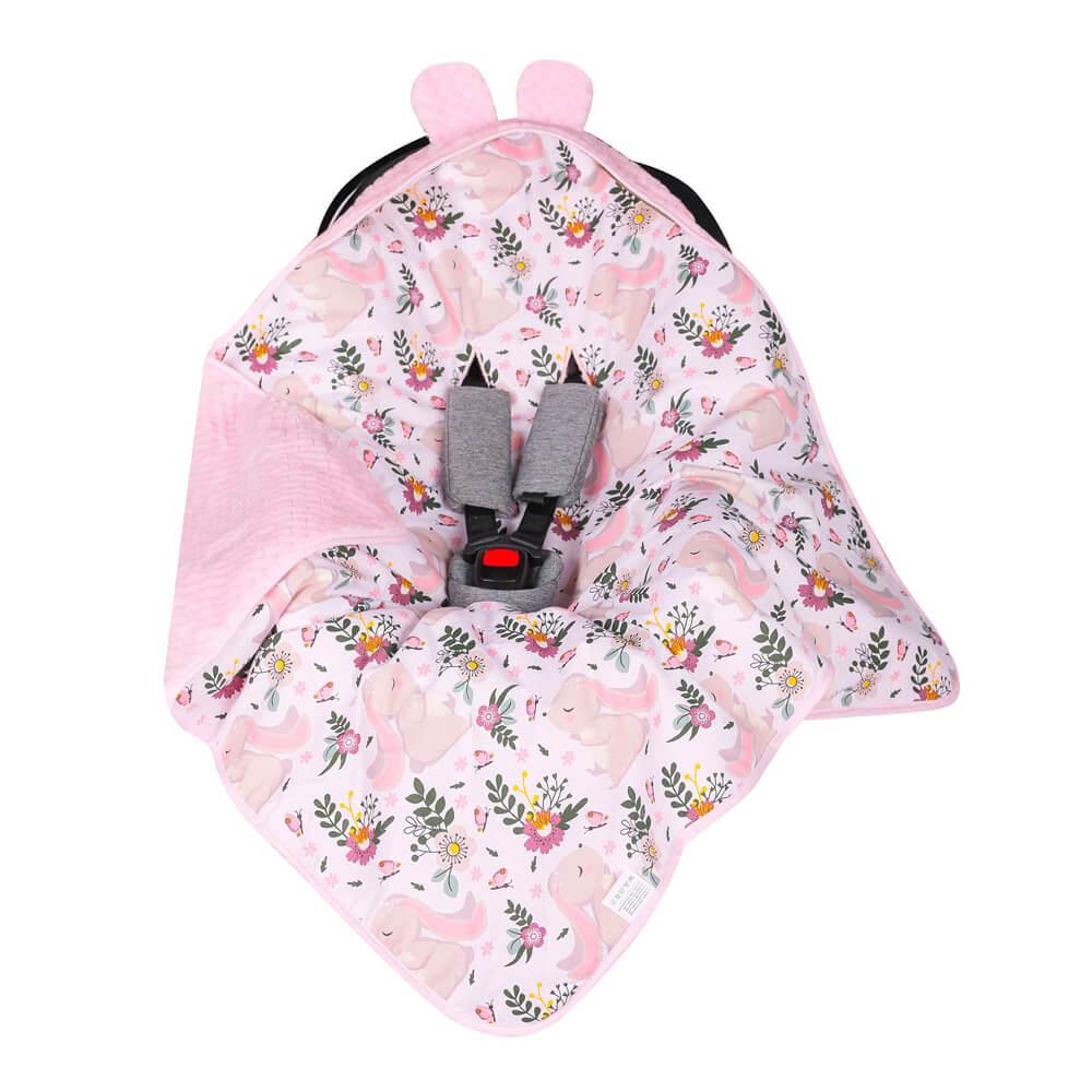 Κουβέρτα αυτοκινήτου Pink Rabbits, duet baby
