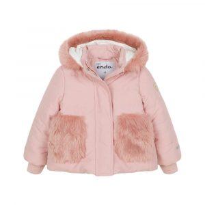 Μπουφάν ροζ με γούνινες τσέπες